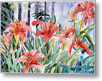 My Summer Day Liliies Metal Print by Mindy Newman
