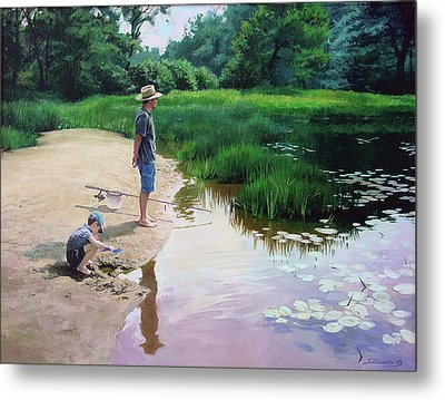 Metal Print featuring the painting Summer Fishing by Sergey Zhiboedov