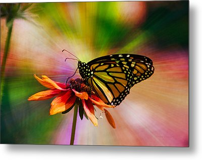 Summer Floral With Monarch Butterfly 03 Prism Metal Print by Thomas Woolworth