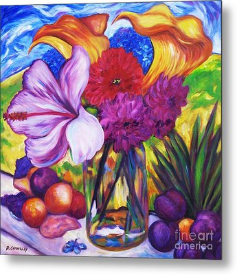 Summer Flowers On The Sill Metal Print by Dianne  Connolly