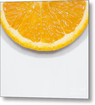 Summer Fruit Orange Slice On Studio Copyspace Metal Print by Jorgo Photography - Wall Art Gallery