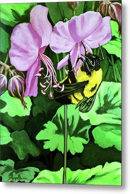 Metal Print featuring the painting Summer Garden Bumblebee And Flowers Nature Painting by Linda Apple