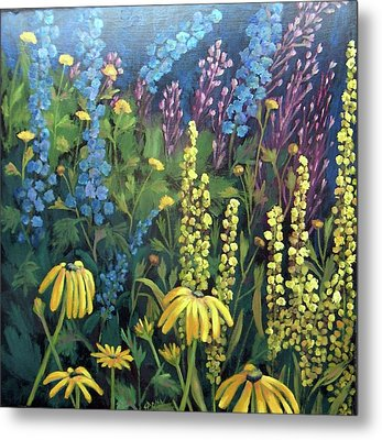 Metal Print featuring the painting Summer Garden by Susan  Spohn