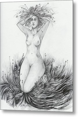 Metal Print featuring the drawing Summer II by Anna  Duyunova