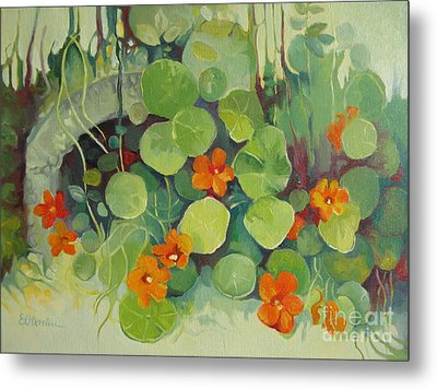 Metal Print featuring the painting Summer In The Garden by Elena Oleniuc