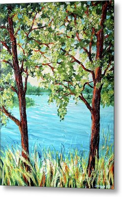 Metal Print featuring the painting Summer Lake View by Inese Poga