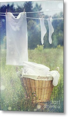 Summer Laundry Drying On Clothesline Metal Print by Sandra Cunningham