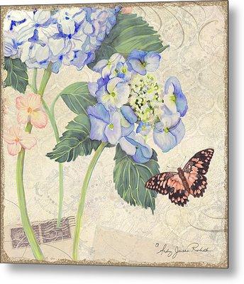 Summer Memories - Blue Hydrangea N Butterfly Metal Print