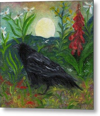 Summer Moon Raven Metal Print
