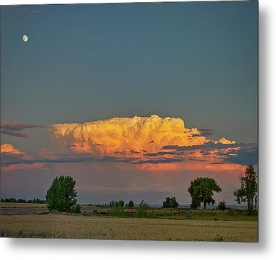 Metal Print featuring the photograph Summer Night Storms Brewing And Moon Above by James BO Insogna