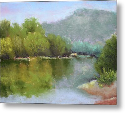 Metal Print featuring the painting Summer On The River by Nancy Jolley
