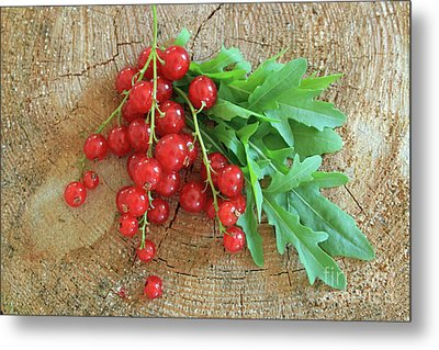 Summer, Red Berries And Rucola On Wooden Board Metal Print
