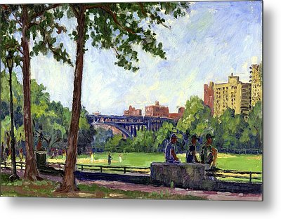 Summer Shade Baseball Fields At Inwood Nyc 8x12 Plein Air Impressionist Oil On Panel Metal Print by Thor Wickstrom
