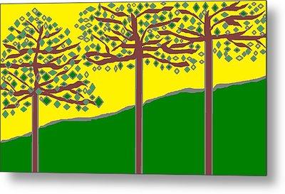Summer Stained Glass 2 Metal Print by Linda Velasquez