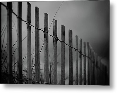 Summer Storm Beach Fence Mono Metal Print