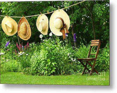 Summer Straw Hats Hanging On Clothesline Metal Print by Sandra Cunningham