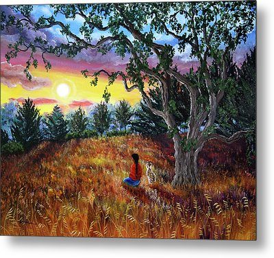 Summer Sunset Meditation Metal Print by Laura Iverson