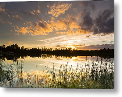 Summer Sunset Over Six Mile Lake Metal Print by Michael DeYoung