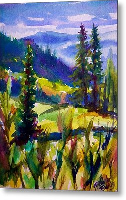 Summertime View From Nelson Sold Original Prints Available Metal Print by Therese Fowler-Bailey