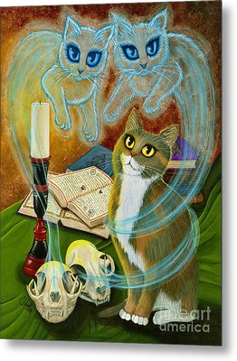Metal Print featuring the painting Summoning Old Friends - Ghost Cats Magic by Carrie Hawks
