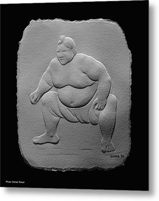 Metal Print featuring the relief Sumo by Suhas Tavkar