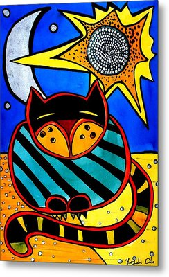Sun And Moon - Honourable Cat - Art By Dora Hathazi Mendes Metal Print