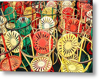 Sun Burst Chairs Stacked Metal Print by Todd Klassy