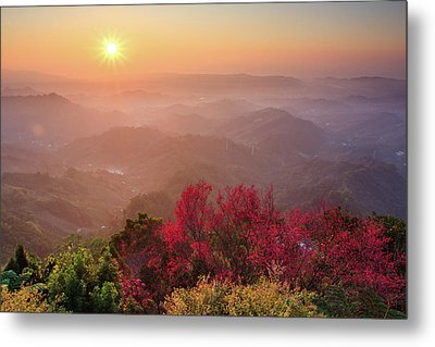 Sun Burst, Cherry Blossoms And Mountain Layers Metal Print by Samyaoo