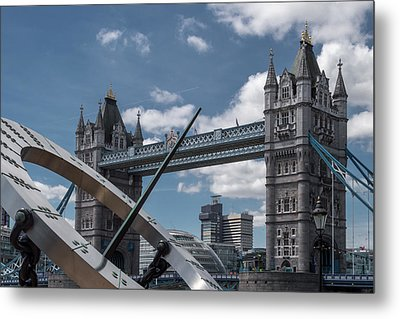 Sun Clock With Tower Bridge Metal Print