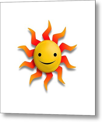 Metal Print featuring the digital art Sun Face No Background by John Wills