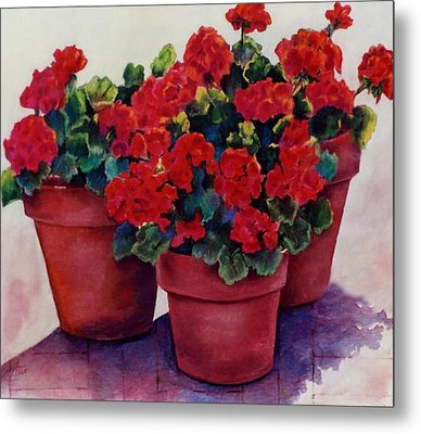 Metal Print featuring the painting Sun-kissed Geraniums by Ann Peck