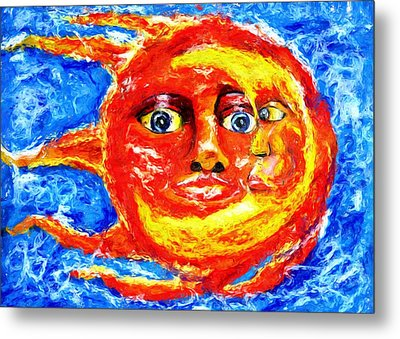 Metal Print featuring the painting Sun Moon by Shelley Bain