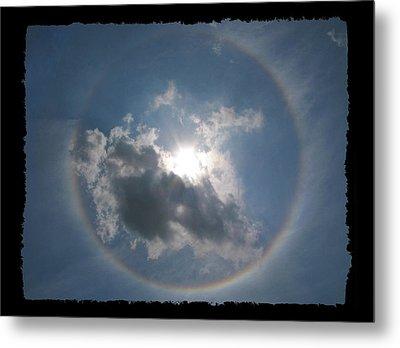 Sun Portal  A Rainbow Around The Sun With Black Border Metal Print by Adam Long