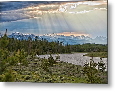Sun Rays Filtering Through Clouds Metal Print by Trina Dopp Photography