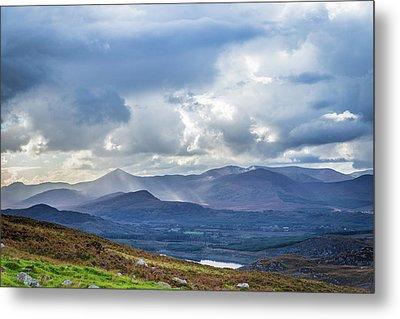 Sun Rays Piercing Through The Clouds Touching The Irish Landscap Metal Print by Semmick Photo