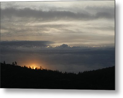Sun Rises On Ridge Metal Print