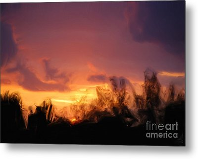 Metal Print featuring the painting Sun Set by Jan Daniels
