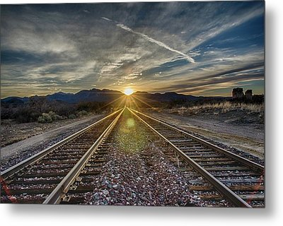 Sun Sets At The End Of The Line Metal Print