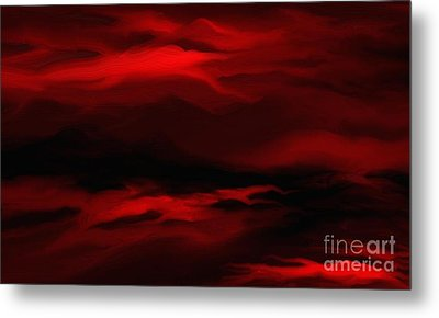 Sun Sets In Red Metal Print