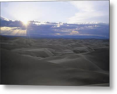 Sun Sets Over Miles Of Sand Dunes Metal Print by Taylor S. Kennedy