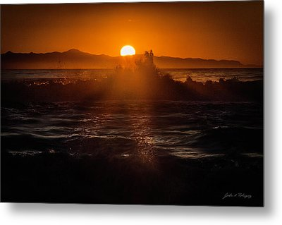 Metal Print featuring the photograph Sun Setting Behind Santa Cruz Island by John A Rodriguez