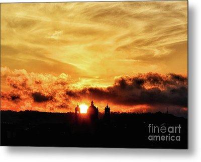 Sun Setting Down Behind Church Metal Print by Stephan Grixti