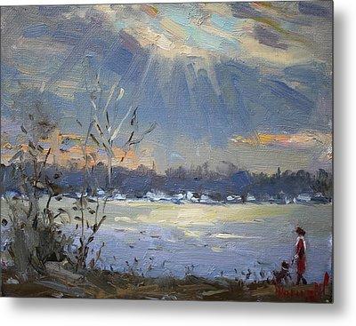 Sun Setting Over The Niagara River Metal Print by Ylli Haruni