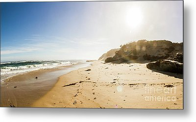 Sun Surf And Empty Beach Sand Metal Print