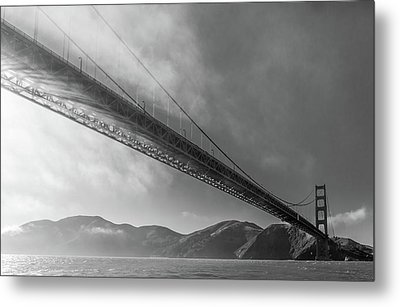 Sunbeams Through The Golden Gate Black And White Metal Print by Scott Campbell