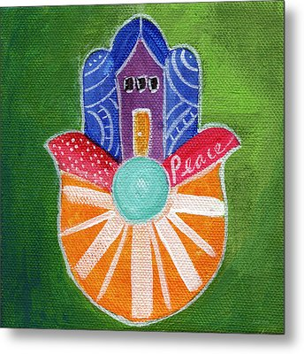 Sunburst Hamsa Metal Print by Linda Woods