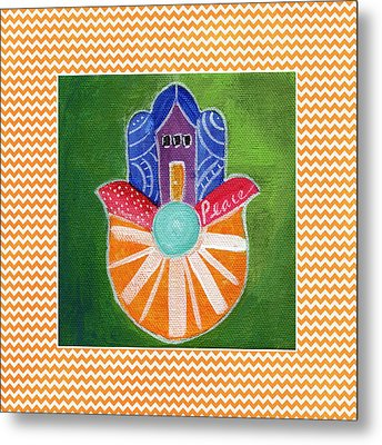 Sunburst Hamsa With Chevron Border Metal Print by Linda Woods