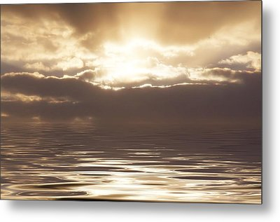 Sunburst Over Water Metal Print by Bill Cannon