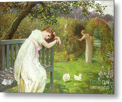 Sunday Afternoon - Ladies In A Garden Metal Print by English School