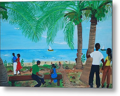 Sunday By The Beach Metal Print by Nicole Jean-Louis
